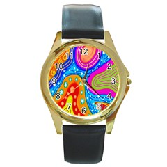 Hand Painted Digital Doodle Abstract Pattern Round Gold Metal Watch