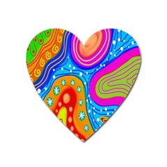 Hand Painted Digital Doodle Abstract Pattern Heart Magnet