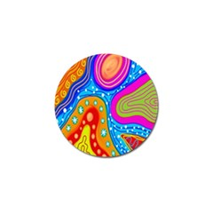 Hand Painted Digital Doodle Abstract Pattern Golf Ball Marker