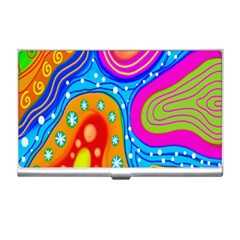 Hand Painted Digital Doodle Abstract Pattern Business Card Holders