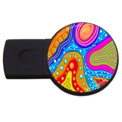 Hand Painted Digital Doodle Abstract Pattern USB Flash Drive Round (2 GB)