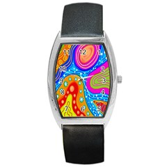Hand Painted Digital Doodle Abstract Pattern Barrel Style Metal Watch