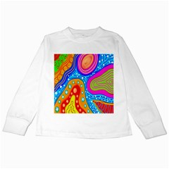 Hand Painted Digital Doodle Abstract Pattern Kids Long Sleeve T Shirts