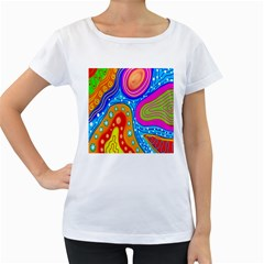 Hand Painted Digital Doodle Abstract Pattern Women s Loose Fit T Shirt (white)