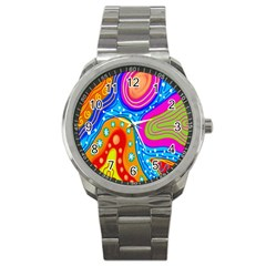 Hand Painted Digital Doodle Abstract Pattern Sport Metal Watch