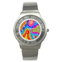 Hand Painted Digital Doodle Abstract Pattern Stainless Steel Watch