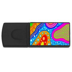 Hand Painted Digital Doodle Abstract Pattern Usb Flash Drive Rectangular (4 Gb)