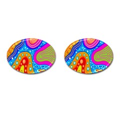 Hand Painted Digital Doodle Abstract Pattern Cufflinks (Oval)