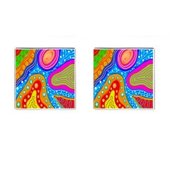 Hand Painted Digital Doodle Abstract Pattern Cufflinks (Square)