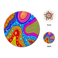Hand Painted Digital Doodle Abstract Pattern Playing Cards (round)