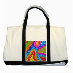 Hand Painted Digital Doodle Abstract Pattern Two Tone Tote Bag