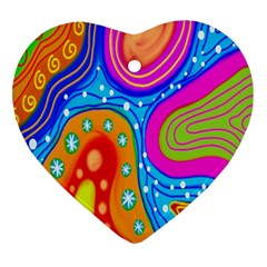 Hand Painted Digital Doodle Abstract Pattern Heart Ornament (two Sides)