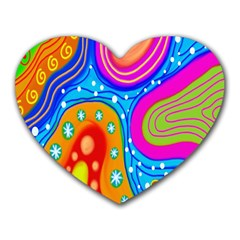 Hand Painted Digital Doodle Abstract Pattern Heart Mousepads