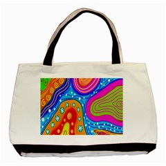 Hand Painted Digital Doodle Abstract Pattern Basic Tote Bag (two Sides)