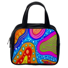 Hand Painted Digital Doodle Abstract Pattern Classic Handbags (one Side)