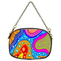 Hand Painted Digital Doodle Abstract Pattern Chain Purses (two Sides)