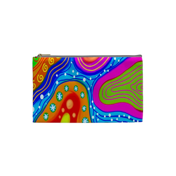Hand Painted Digital Doodle Abstract Pattern Cosmetic Bag (Small)
