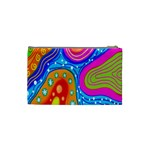 Hand Painted Digital Doodle Abstract Pattern Cosmetic Bag (Small)  Back