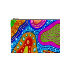 Hand Painted Digital Doodle Abstract Pattern Cosmetic Bag (medium)