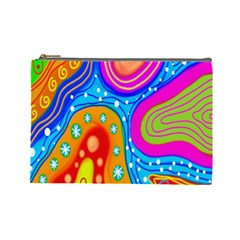 Hand Painted Digital Doodle Abstract Pattern Cosmetic Bag (large)