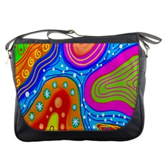 Hand Painted Digital Doodle Abstract Pattern Messenger Bags