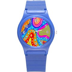 Hand Painted Digital Doodle Abstract Pattern Round Plastic Sport Watch (S)