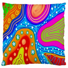 Hand Painted Digital Doodle Abstract Pattern Large Cushion Case (one Side)