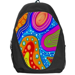 Hand Painted Digital Doodle Abstract Pattern Backpack Bag