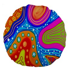 Hand Painted Digital Doodle Abstract Pattern Large 18  Premium Round Cushions