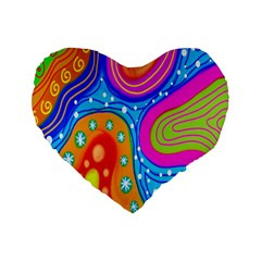Hand Painted Digital Doodle Abstract Pattern Standard 16  Premium Heart Shape Cushions