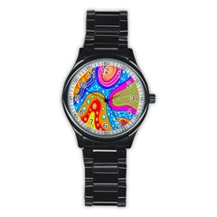 Hand Painted Digital Doodle Abstract Pattern Stainless Steel Round Watch