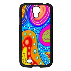 Hand Painted Digital Doodle Abstract Pattern Samsung Galaxy S4 I9500/ I9505 Case (Black)
