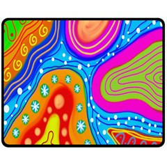 Hand Painted Digital Doodle Abstract Pattern Double Sided Fleece Blanket (Medium)