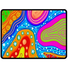 Hand Painted Digital Doodle Abstract Pattern Double Sided Fleece Blanket (Large)