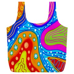 Hand Painted Digital Doodle Abstract Pattern Full Print Recycle Bags (L)
