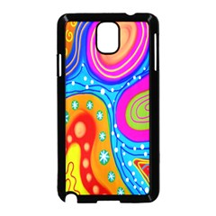 Hand Painted Digital Doodle Abstract Pattern Samsung Galaxy Note 3 Neo Hardshell Case (Black)