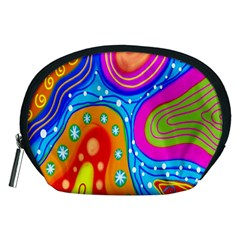 Hand Painted Digital Doodle Abstract Pattern Accessory Pouches (Medium)