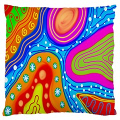 Hand Painted Digital Doodle Abstract Pattern Standard Flano Cushion Case (Two Sides)
