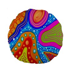 Hand Painted Digital Doodle Abstract Pattern Standard 15  Premium Flano Round Cushions