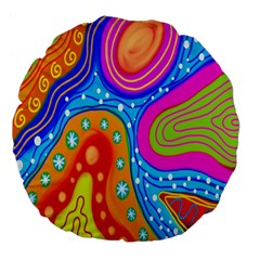 Hand Painted Digital Doodle Abstract Pattern Large 18  Premium Flano Round Cushions
