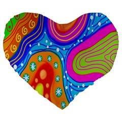 Hand Painted Digital Doodle Abstract Pattern Large 19  Premium Flano Heart Shape Cushions
