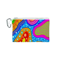 Hand Painted Digital Doodle Abstract Pattern Canvas Cosmetic Bag (S)
