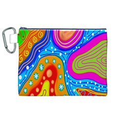 Hand Painted Digital Doodle Abstract Pattern Canvas Cosmetic Bag (XL)