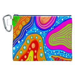 Hand Painted Digital Doodle Abstract Pattern Canvas Cosmetic Bag (xxl)