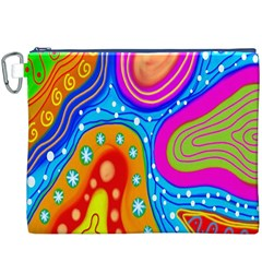Hand Painted Digital Doodle Abstract Pattern Canvas Cosmetic Bag (XXXL)