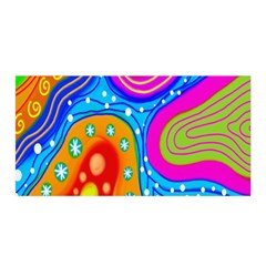 Hand Painted Digital Doodle Abstract Pattern Satin Wrap