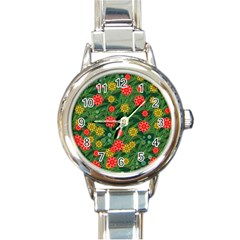 Completely Seamless Tile With Flower Round Italian Charm Watch