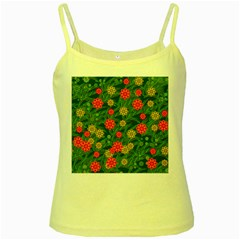 Completely Seamless Tile With Flower Yellow Spaghetti Tank