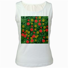 Completely Seamless Tile With Flower Women s White Tank Top