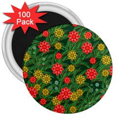 Completely Seamless Tile With Flower 3  Magnets (100 Pack)